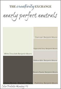 Neutral Paint Color Ideas. Neutral Color Palette. #NeutraPaintColorIdeas #NeutralColorPalette Via thecreativityexchange