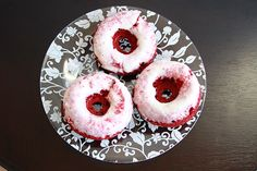 Baked Red Velvet Doughnuts  Starts from a cake mix.