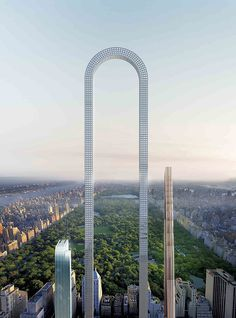 "Gotta love the absurdity of oiio's The Big Bend a none-too-serious proposal for ""the longest building in the world"" that happens to look like a synthesis of Rafael Viñoly's 432 Park Avenue and a croquet wicket.[Image: oiio] I'm reminded of Greg Lynn's Stranded Sears Tower not in terms of form but in the way each project takes the skyscraper typology (and a specific example of one) and stretches and pulls it into something else.[Image: Greg Lynn / Art Institute of Chicago] (The Big Bend…"