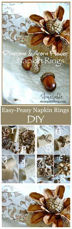 PINECONE AND ACORN FLOWER NAPKIN RINGS-Anyone can make these gorgeous, organic napkin rings with a toilet paper roll, a scrap of burlap and some organic bit and pieces!
