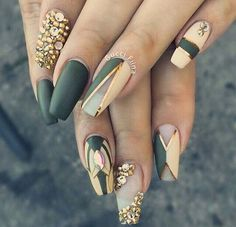 Matte Coffin Nails with White and Rhinestones. This V shaped studded green and white coffin nails are the best things that you can wear on every occasion, ranging from a formal military camp to your bonfire.