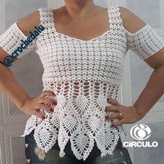 """461 curtidas, 60 comentários - Crochê da Lu Belém - Pa (@crochedaluloiss) no Instagram: """"Bom dia!! Já está disponível no canal Crochê da Lu a videoaula dessa linda blusa. Então, agulha e…"""""""