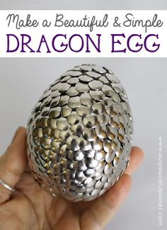 Make this gorgeous large dragon egg with nothing more than a Styrofoam egg and some push pins.