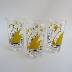 3 Yellow Swan Drinking Glass Tumblers 1950s 1960s on Etsy, $15.00 tattoo design