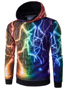 $14.33 3D Colorful Lightning Pattern Hoodie