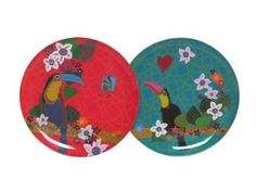 """Melamine Round Toucan Plates 9.25""""D 3 of each color Set/6 by Traders and Company. $27.00. Available in other Products. See our Storefront. Food Safe - Dishwasher Safe. These Melamine Trays and Plates gives a bright accent to your kitchen."""