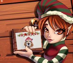 Duende con una tarjeta de navidad