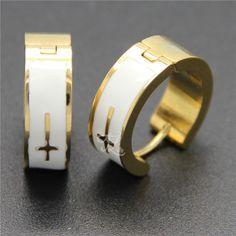 Free Shipping Wholesale Brand New Design Women Girl Stainless Steel Plated Cross Pattern Huggie Hoop Earrings