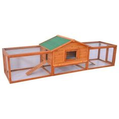 """This would be perfect for abbot chicks! Pawhut+122""""+Deluxe+Wooden+Rabbit+Hutch+/+Chicken+Coop+w/+Double+Outdoor+Runs"""
