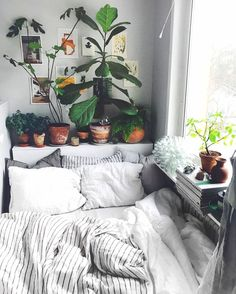 Home Bohemian Bedroom Decor from Around the World urban outfitters bedroom + indoor plant + succulent ideas for the bedroom Bohemian Bedroom Decor, Bedroom Inspo, Home Bedroom, Design Bedroom, Hippy Bedroom, Bedroom Beach, Master Bedroom, Jungle Bedroom, White Comforter Bedroom