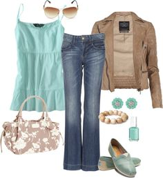 """Casual Aqua"" by pamnken on Polyvore"