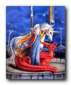 Absolutely stunning! Brighten up any room with this unicorn wizard fantasy art print poster. This poster depicts the image of white Mythical unicorn and a red dragon with a magician having crystal ball in his hand which forming rainbow is sure to makes this poster center of attraction. This poster will bring a wonderful combination of fantasy and reality. This Storm Chaser Unicorn Wizard Fantasy Kids Room Art Print Poster will instantly create a magical focal point in your room.