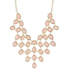 Charlotte Russe Faceted Stone Bib Necklace ($6) ❤ liked on Polyvore featuring jewelry, necklaces, pearl blush, pearl jewelry, white pearl necklace, pearl necklace, charlotte russe and charlotte russe jewelry
