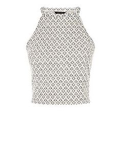 White Geo Jacquard High Neck Crop Top | New Look