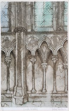 Lincoln, Arcading, etching and aquatint by Valerie Thornton from Goldmark Lincoln, Patterns, Drawings, Painting, Art, Block Prints, Art Background, Painting Art, Kunst