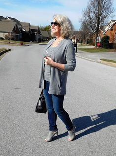 Fifty, not Frumpy Lovely in gray!  #FrumpBusters http://www.over50feeling40.com