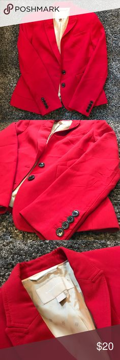 Banana Republic Red Blazer Great for work, this fitted blazer will put a great finishing touch on any outfit. Only worn a couple times, there is a small black dot on the right sleeve. Banana Republic Jackets & Coats Blazers