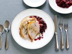 Rachael Ray's Roasted Turkey Breast with Creamy Gravy and Cranberry-Pomegranate Sauce #Thanksgiving #ThanksgivingFeast