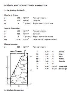 Diseño de muro de contencion mamposteria (xlsPlanilla de calculo)