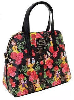 Princess Belle Disney Loungefly Floral AOP Handbag Purse Princess Belle f4a7dfa1acdd4
