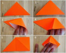 First 6 steps showing how to fold an origami pumpkin for Halloween Modular Origami, Origami Folding, Origami Art, Oragami, Quick Crafts, Crafts To Do, Crafts For Kids, Arts And Crafts, Origami Instructions