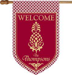 Pineapple Monogrammed House Flag
