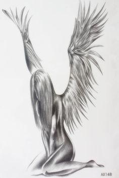 Sorrowful female angel Size 22 x 12cm Brand New Body Art tatoo Temporary Tattoo Exotic Sexy Henna Tattoo Tattoo Stickers