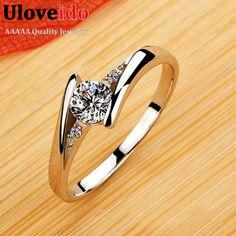 Hochzeit Ringe für Frauen Kristall Silber Überzogene CZ Diamant Schmuck Rose Gold Überzog Verlobungsring Anel Aneis Feminino J045
