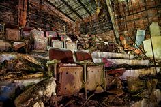 Old balcony seats in the abandon Palace Theater in Gary, Indiana. Photo by @Joey Lax-Salinas