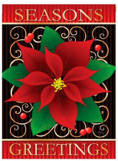 Christmas Seasonu0027s Greetings Poinsettia House And Garden Flag.