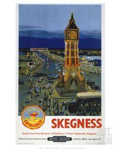 Skegness Clock Tower Railway Vintage Retro Oldschool Old Good Price Poster Posters Uk, Train Posters, Railway Posters, British Travel, British Seaside, British Isles, Travel Uk, Seaside Resort, Europe