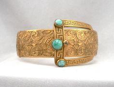 Vintage Buckle Style Bangle Bracelet Double Hinge Goldtone Peking Glass Beaux Arts