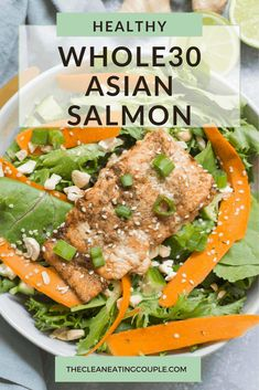 This Asian Salmon recipe is an easy dinner that you can make baked in the oven, on the grill or in foil. Healthy, paleo and done in under 30 minutes! The marinade is so delicious and the salmon goes great on salad or in power bowls! Gluten Free Meal Plan, Healthy Gluten Free Recipes, Healthy Dinner Recipes, Lunch Recipes, Whole30 Recipes, Easy Whole 30 Recipes, Paleo Whole 30, Easy Meal Prep, Healthy Meal Prep