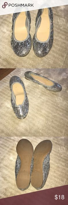 J Crew Sparkle Flats Hardly worn! Super cute silver sparkly flats. J. Crew Shoes Flats & Loafers