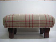 Footstool in Laura Ashley Keynes cranberry check ,square legs Laura Ashley, Wingback Chair, Snug, Ottoman, Legs, Living Room, Check, Furniture, Ebay