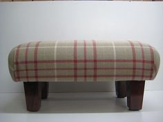 Footstool in Laura Ashley Keynes cranberry check ,square legs | eBay