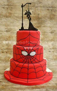 Half and half spiderman and beauty and the beast wedding cake