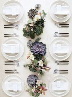 mother's day table setting with succulent centerpieces