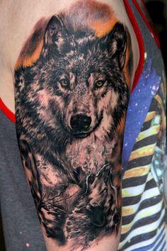 Half Sleeve Wolf Tattoo #AnimalTattoo, #AnimalTattoos, #SleeveTattoo, #SleeveTattooIdea, #Tattoo, #Wolf, #WolfTattoo, #WolfTattooIdea, #WolfTattooOnSleeve http://tattooideascenter.com/half-sleeve-wolf-tattoo/