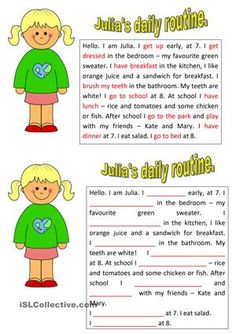 """The worksheet has got 2 parts - the text with the highlighted words on the topic """"daily routine"""" and the same text but with the gaps to fill in. It's used to practise the Prsent Simple. English Worksheets For Kids, English Lessons For Kids, Kids English, Daily Routine Text, Daily Routine Worksheet, Learn English Grammar, Teaching English, Learning Activities, Kids Learning"""