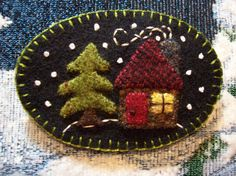 Cabins in the Woods Winter Brooch Christmas Felt by rustiquecat