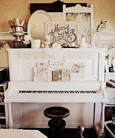 pretty shabby Christmas.  I so want a piano painted white.....