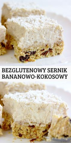 Niskocukrowy bezglutenowy sernik bananowo kokosowy z czekoladą. Szybki i łatwy przepis na pyszne i zdrowe ciasto. Gluten Free Sweets, Gluten Free Recipes, Vegan Recipes, Cooking Recipes, Cake Bars, Wonderful Recipe, Vegan Cake, Cooking Time, Cake Recipes