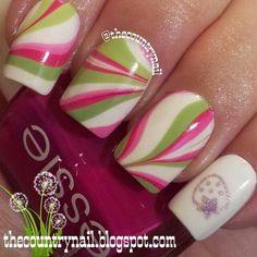 Strawberry Social nails :) #Marble #Nails #nailart