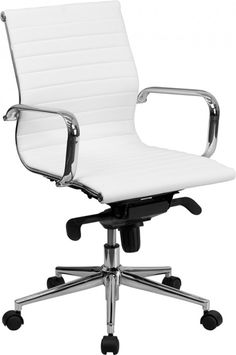 Nicer Furniture Eames Low Back Ribbed Pu Leather White Office Chair Eames, Contemporary Office Chairs, Modern Chairs, Modern Armchair, Contemporary Furniture, Contemporary Style, Modern Lamps, Table Haute Ikea, Cool Desk Chairs