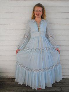 Vintage Gunne Sax 70s Blue Corset Prairie Dress S Boho by soulrust, $99.99