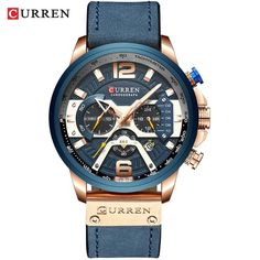 CURREN Casual Sport Watches for Men Blue Top Brand Luxury Military Leather Wrist Watch Man Clock Fashion Chronograph Wristwatch Mens Sport Watches, Watches For Men, Women's Watches, Wrist Watches, Watches Online, Luxury Watches, Timex Watches, Casual Watches, Rose Gold Watches