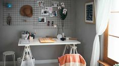 14 Dorm Room Decorating Ideas To Make A Small Space Feel Like Home - Modern Dorm Room Walls, Cool Dorm Rooms, Room Wall Decor, Dorm Desk, Uni Dorm, College Dorms, Wooden Cupboard, Dorm Decorations, Floating Shelves