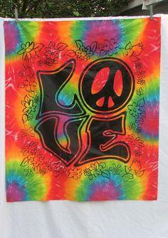 Psychedelic Love Peace Wall Hanging vintage tie dye by SiennaB, $12.50