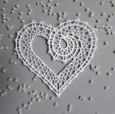 Bobbin Lace Patterns, Crochet Decoration, Lacemaking, Lace Heart, Lace Jewelry, Needle Lace, Lace Design, Crochet Flowers, Happy Valentines Day